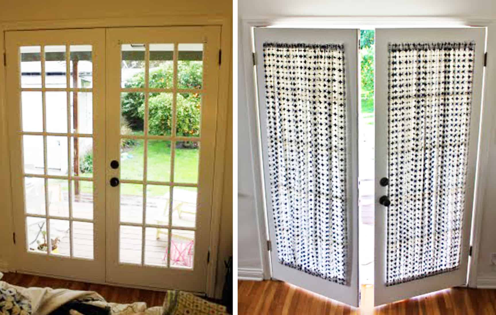 french door curtain before and after