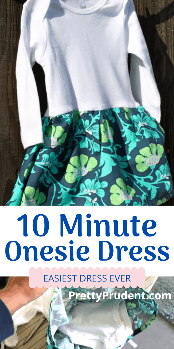 """Hello, when you read this DIY for the 10 Minute Onesie Deress you will be like """"That's it, I'm buying a sewing machine."""" SO SIMPLE. It's a onesie with a skirt around it, cute AND comfy. #sewing #sewingforgirls #freesewingpattern"""