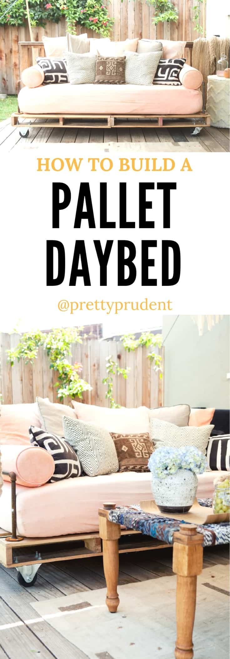How to build a DIY Pallet Daybed - step by step instructions for a beautiful, comfortable homemade daybed made from Pallets. A rewarding DIY Pallet project.