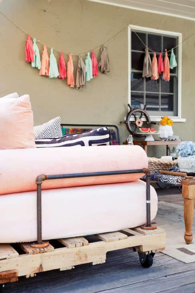 Detalles de sofá con palets