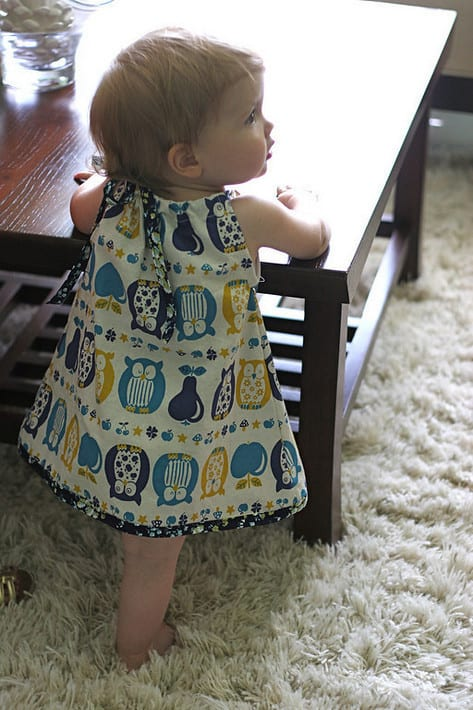 Click here to get the scoop on my DIY \u201cPillowcase\u201d Dress. I only had 1/2 yard of this adorable Kokka Jolis Copains Owls Blue so my dimensions were ... & DIY \