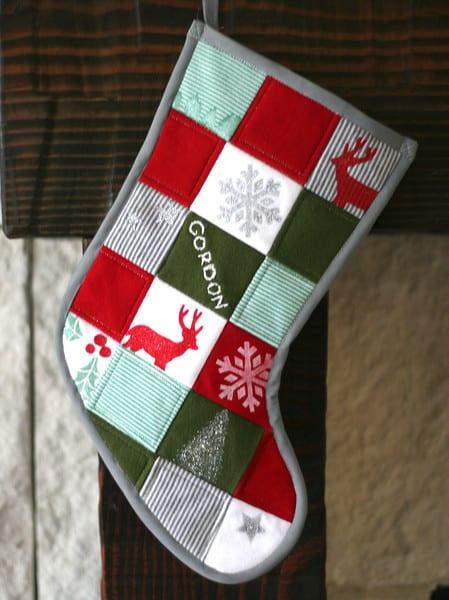 Patchwork Baby Onesie Christmas Stocking | Pretty Prudent