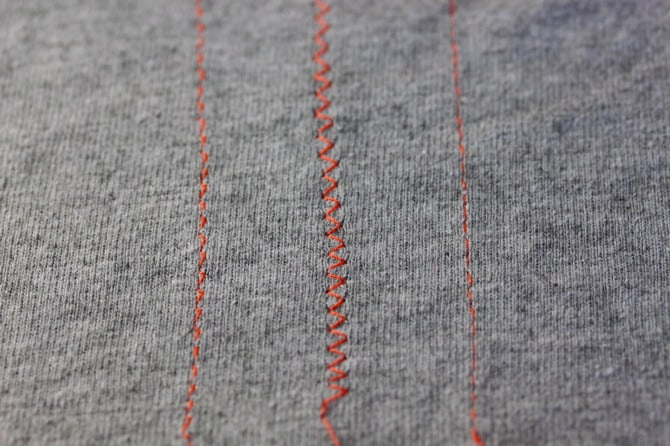Images of stitches for sewing with jersey knit fabrics