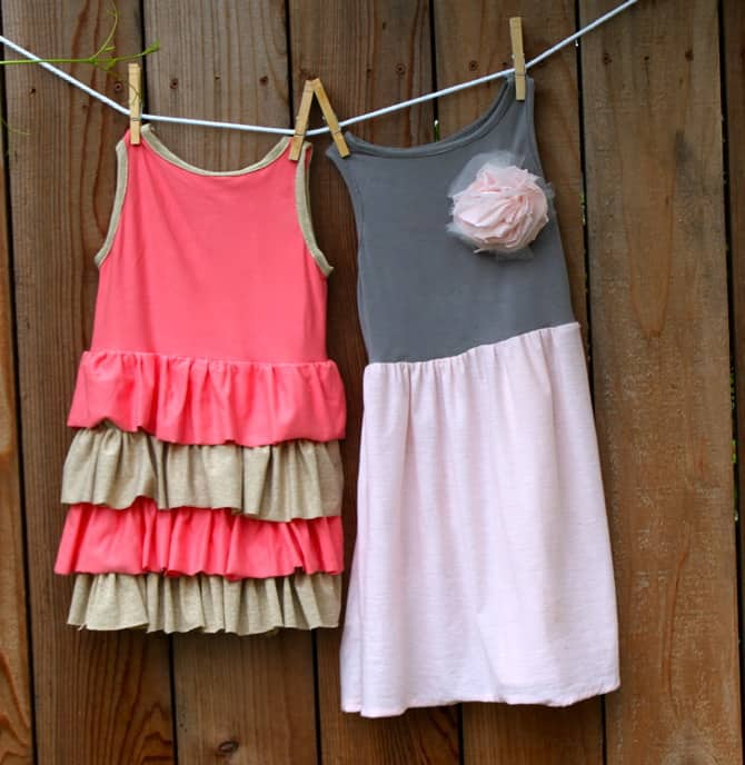 Image of dresses made by sewing with jersey knit fabrics