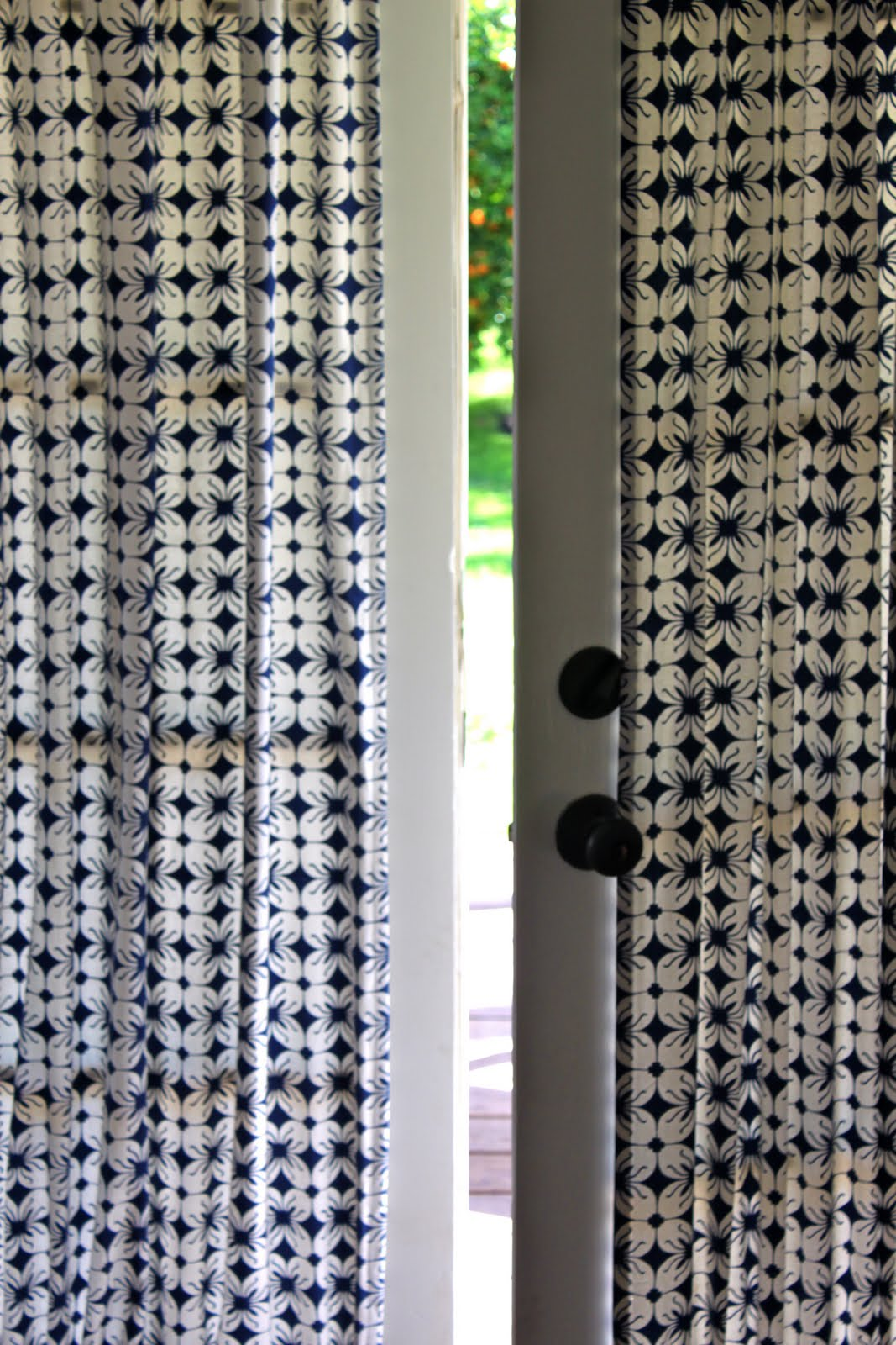 French door curtain rods - French Doors Are A Bit Of A Curtain Conundrum If You Use Hanging Curtains On A Rod Above They Re Always In The Way When You Want To Go In And Out