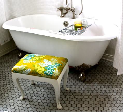 Bending Over The Bathtub Doesnu0027t Help. I Found This Stool At A Thrift Store  For And Recovered It With This Gorgeous Heather Bailey ...