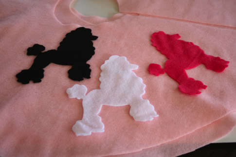 Felt poodle applique pattern appliq patterns for Poodle skirt applique template