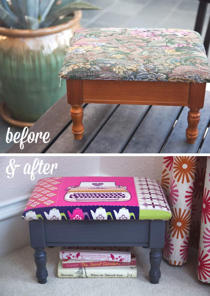 reupholster a foot stool