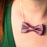 diy glitter bow necklace ji