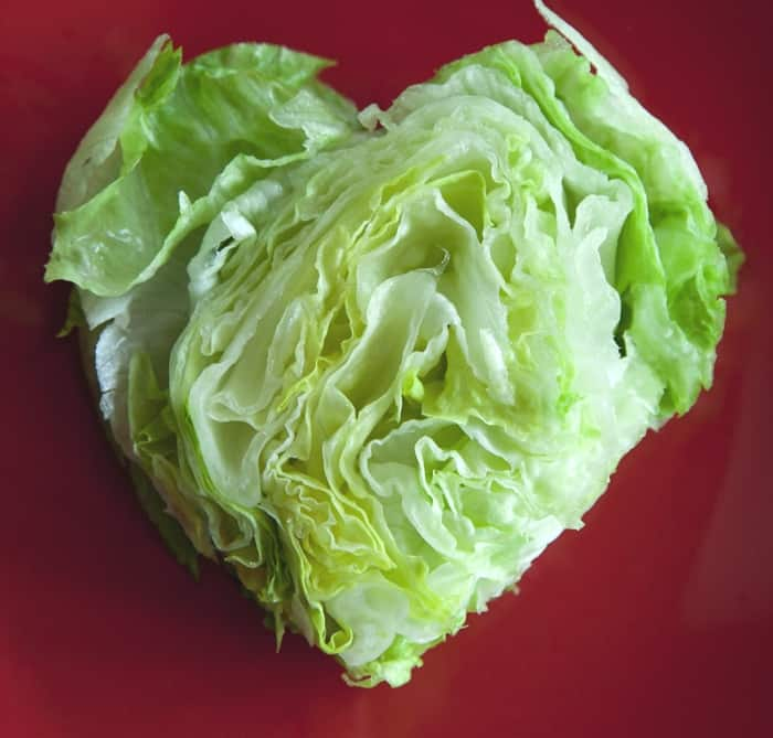Valentine's Day Recipe - Heart-shaped wedge salad with bacon hearts