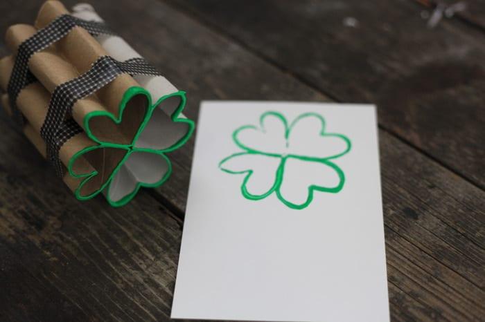 toilet paper roll four leaf clover shamrock stamp 13