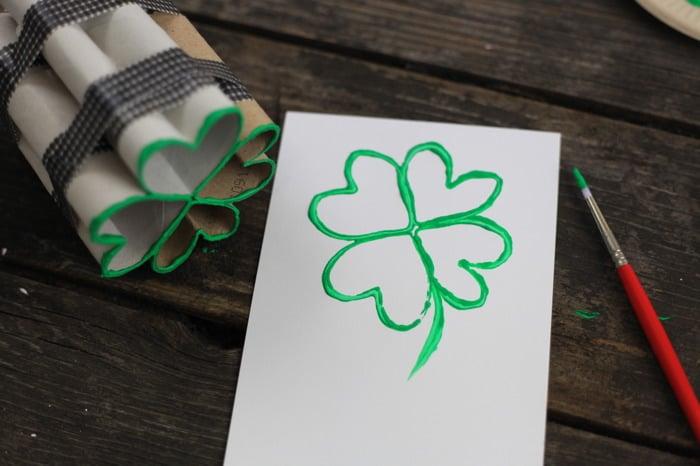 toilet paper roll four leaf clover shamrock stamp 15