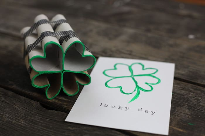 toilet paper roll four leaf clover shamrock stamp 16
