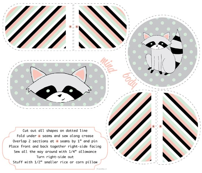 Raccoon Rice Pillow from Spoonflower