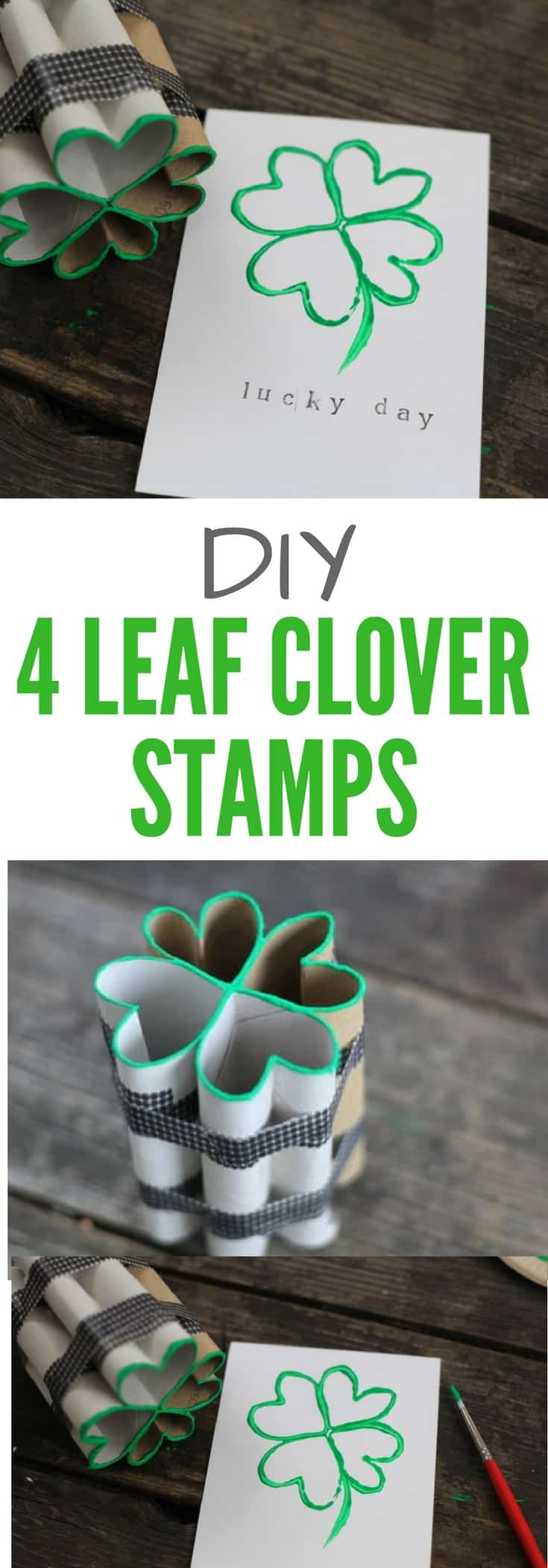 Image of DIY 4 leaf clover stamps from toilet paper rolls