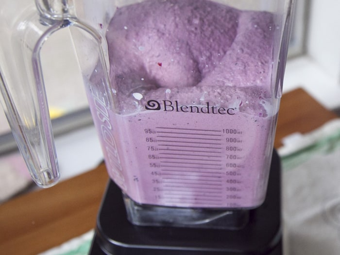 Blueberry Lavender ice cream in a blender