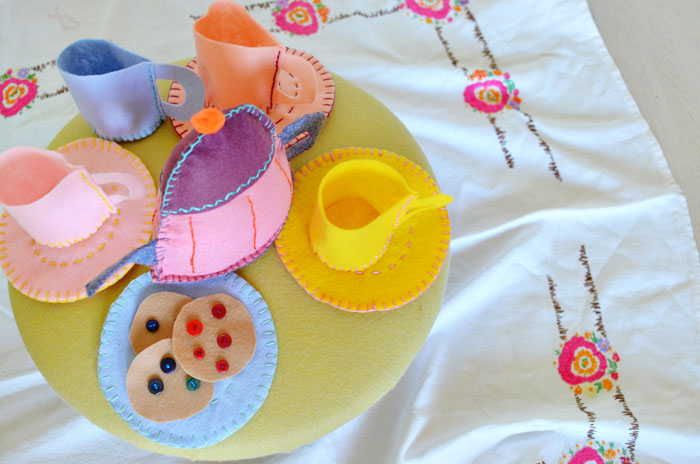 turn a footstool into a diy felt tea party free template pretty