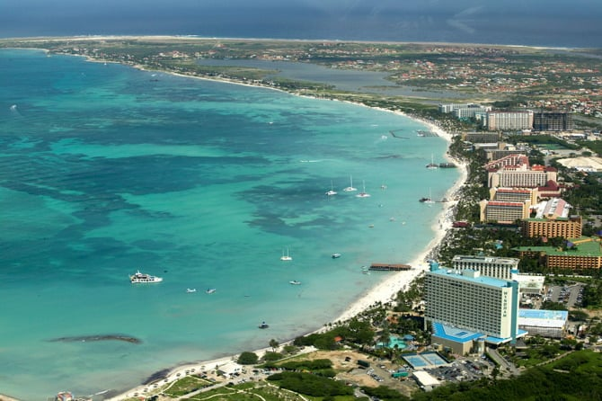 Aerial Palm Beach Aruba