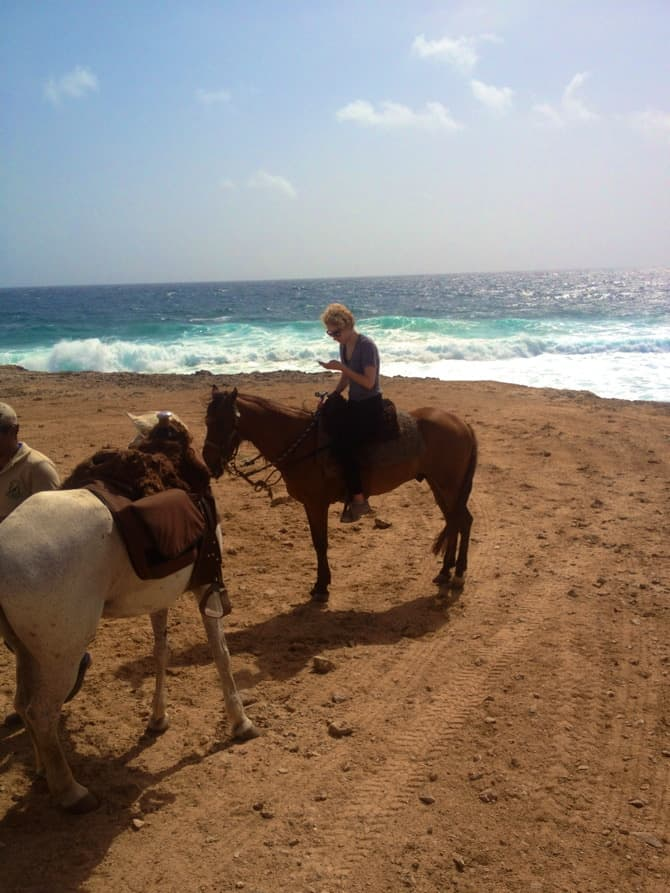 texting on horseback aruba