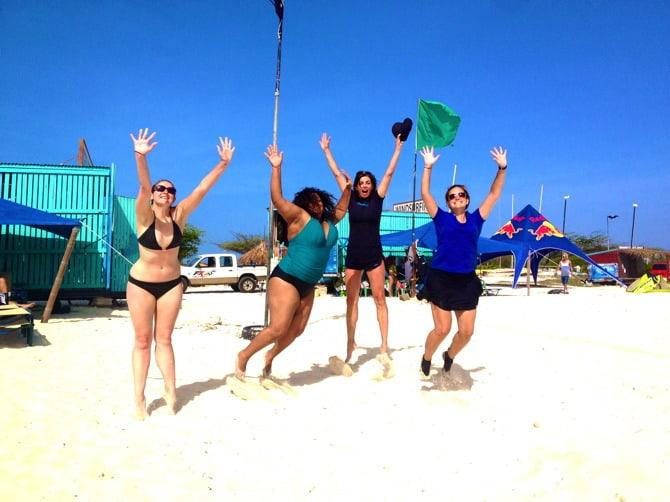 aruba beach girls happy