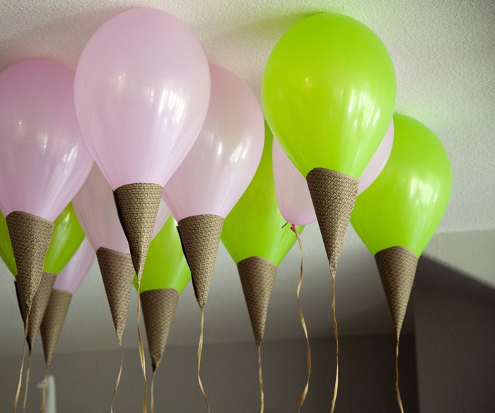 DIY ice cream cone balloons