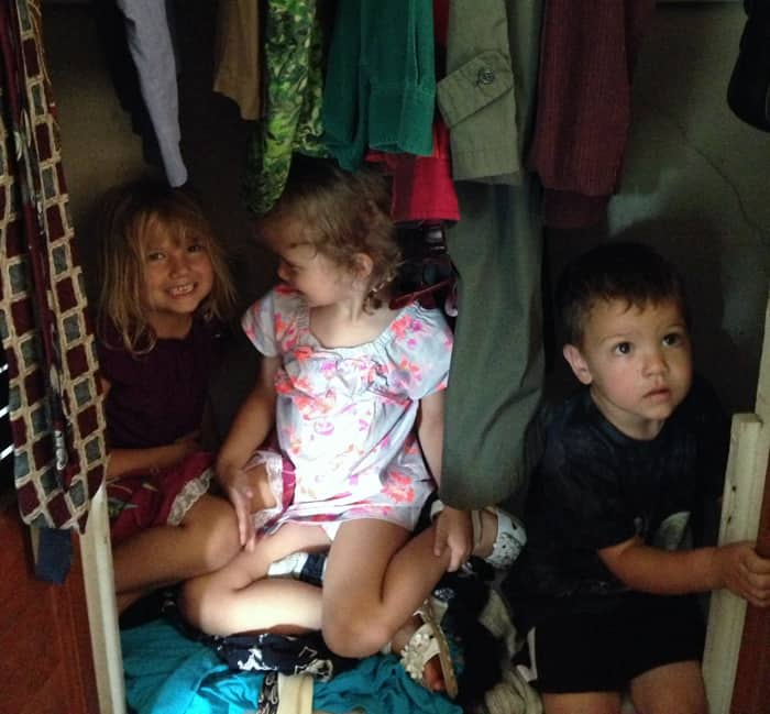 Kids hiding in closet