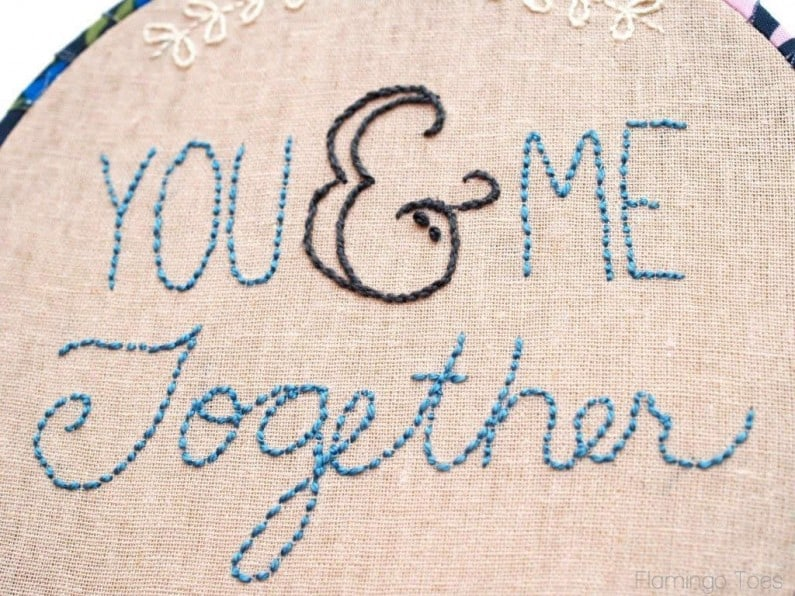 You me together embroidery hoop art and pattern pretty