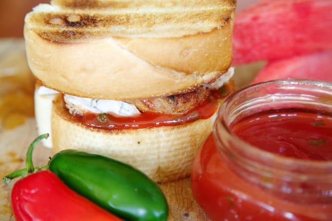 Watermelon Jalapeño Jelly sandwich