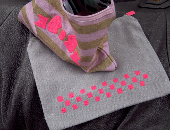 Stenciled zipper pouch