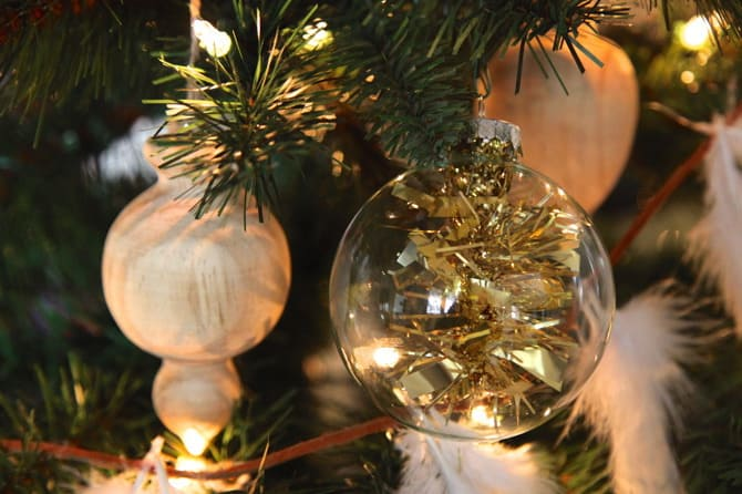 tinsel ornament diy