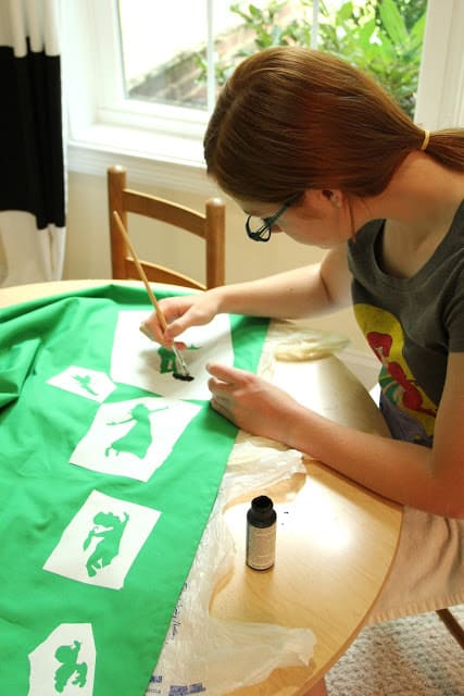 How to Stencil on Fabric + Elastic Waist Skirt Tutorial