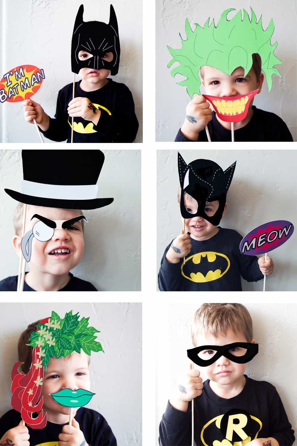 photograph about Free Printable Superhero Photo Booth Props called Batman Social gathering with No cost Photobooth Mask + Prop Printables