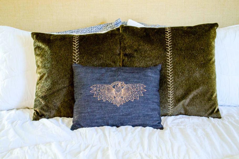 Pretty Prudent Embroidered Pillows - Raven Denim 2