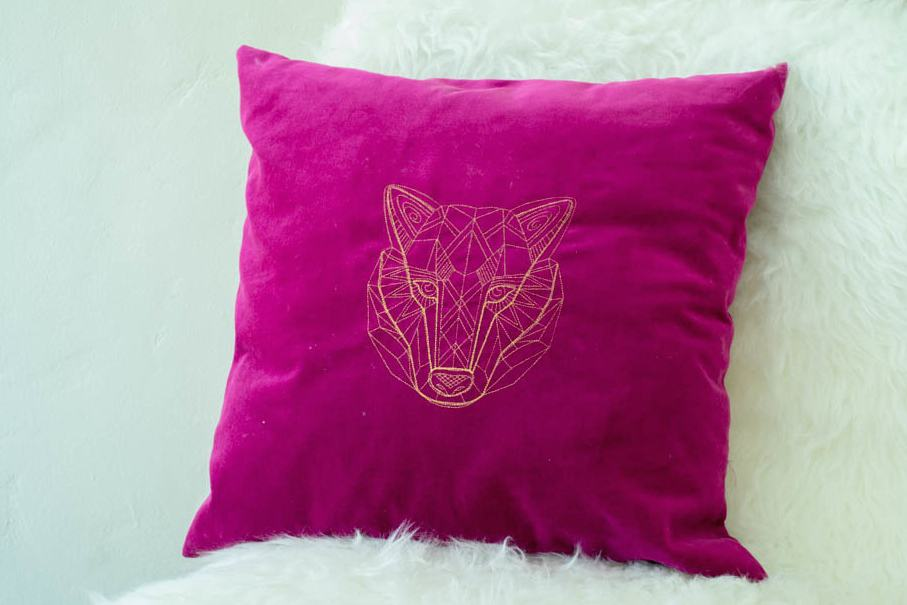 Pretty Prudent Embroidered Pillows - Wolf 2