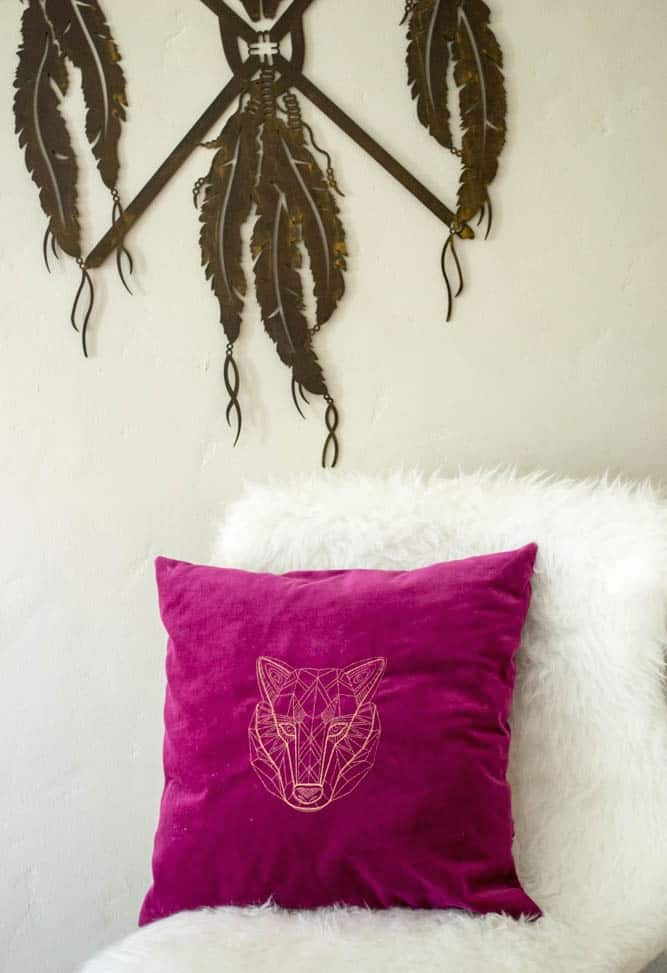Pretty Prudent Embroidered Pillows - Wolf