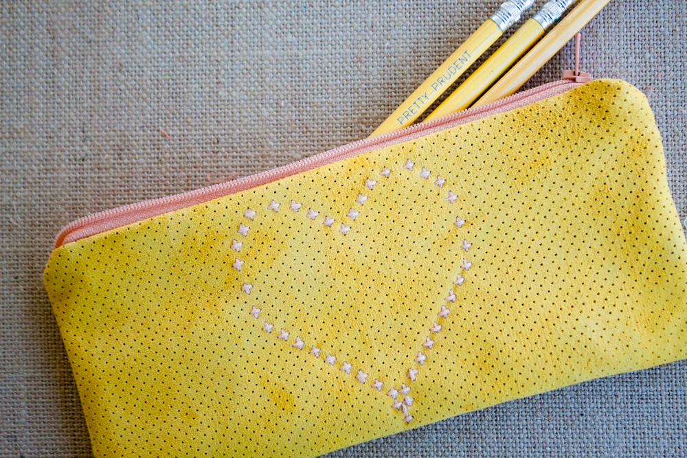 DIY Cross Stitch Leather Pencil Case @prettyprudent