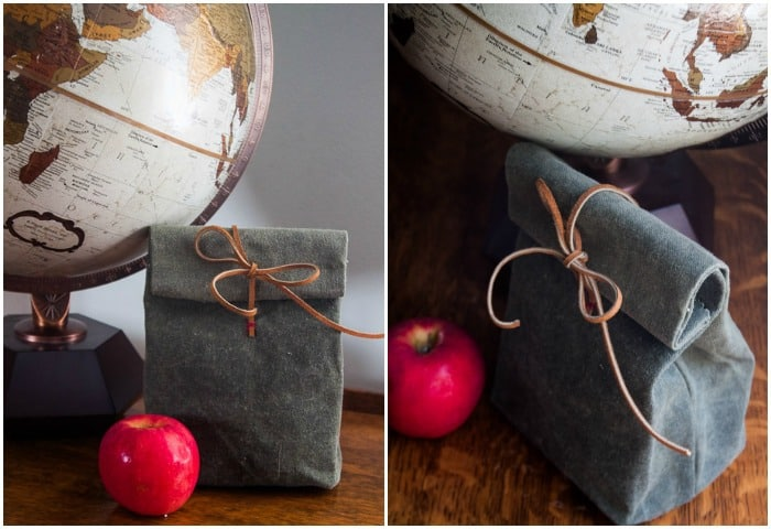 canvas and leather lunch bag