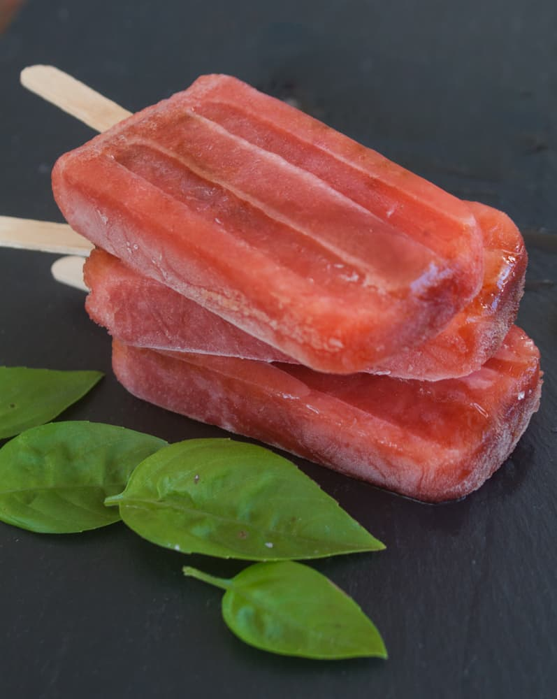 Strawberry Basil Balsamic Pops | Pretty Prudent
