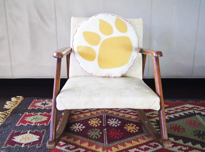 paw print pillow