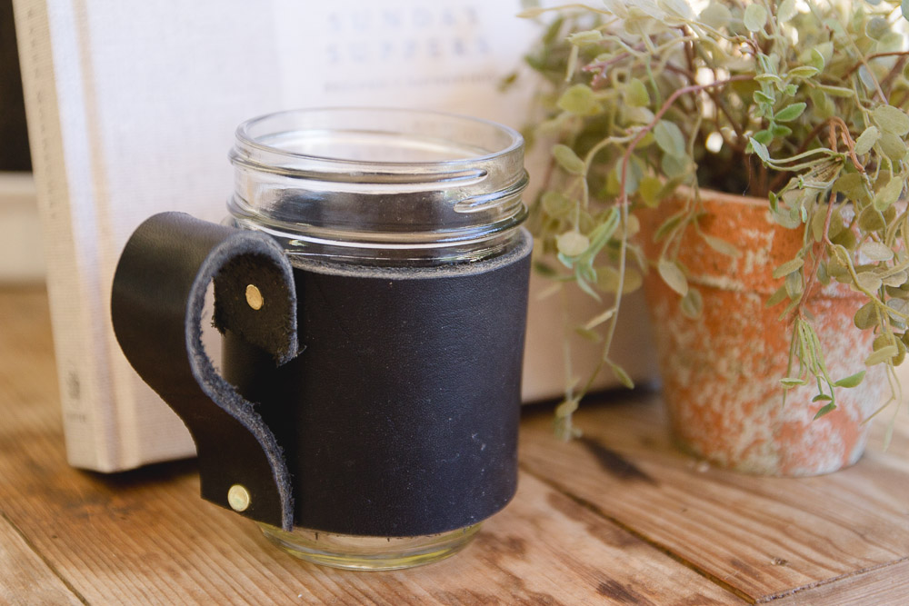DIY Leather Mason Jar Mugs