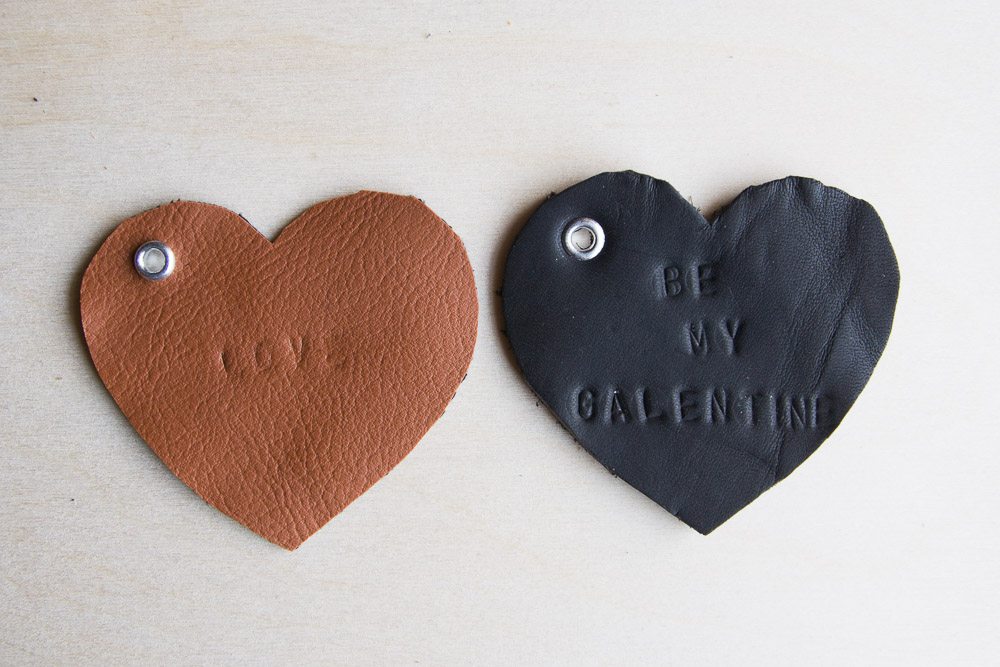 DIY Leather Heart Keychains