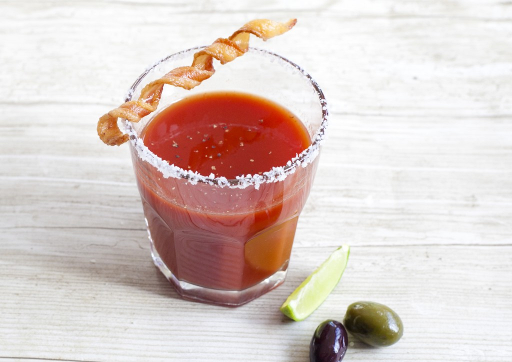 bloody mary with a bacon twist on top.