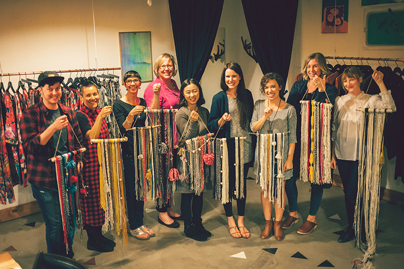 DIY Yarn Tapestry and our Pretty Prudent Workshop