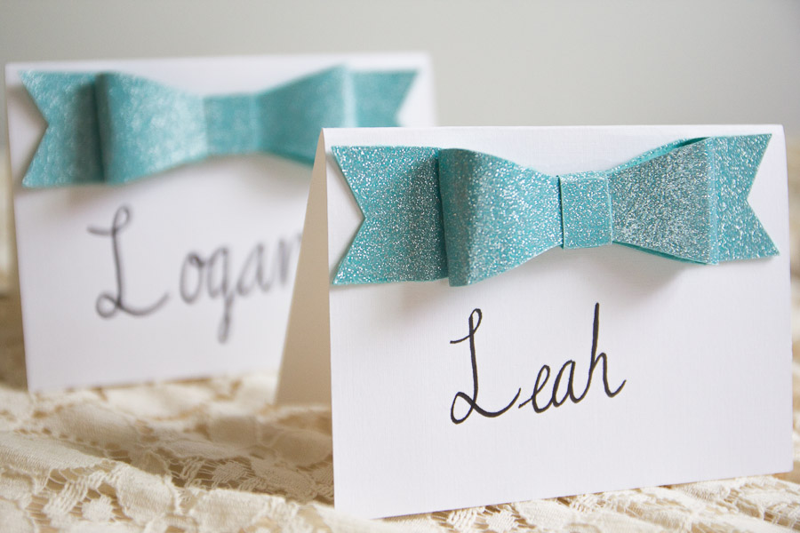DIY Glitter Bow Place Cards