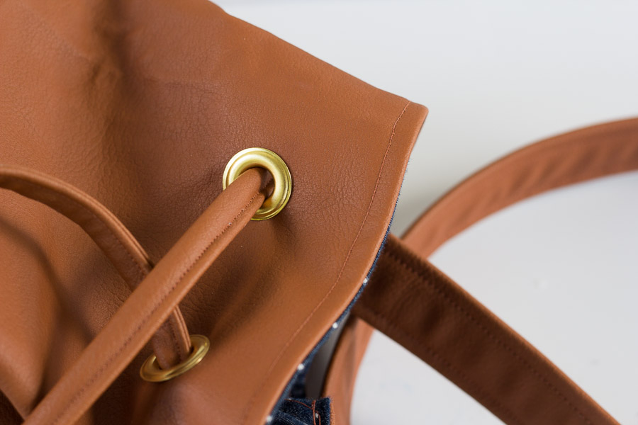 DIY Bucket Bag with Grommets