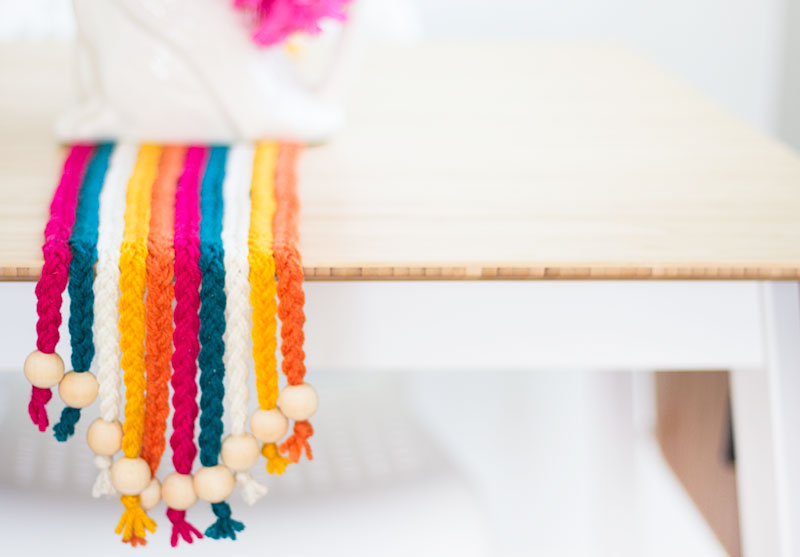 DIY Braided Yarn Table Runner