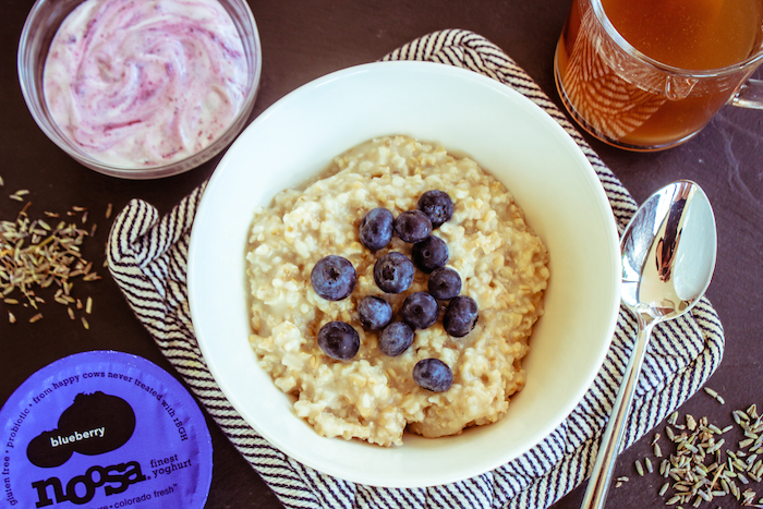 Lavender Infused Oatmeal and Noosa blueberry yogurt