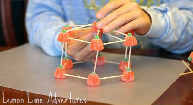 engineering with pumpkin candy and toothpicks - Halloween Stem experiments