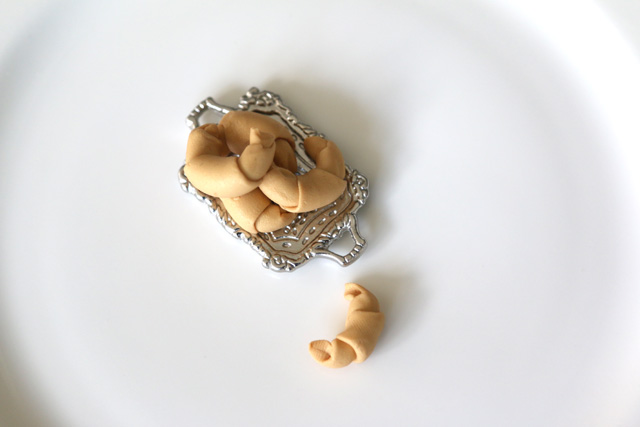 DIY clay miniature croissants