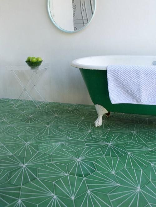 green encaustic hexi tile